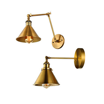 Industrial Brushed Brass Cone Shade Wall Sconce Swing Arm Adjustable Wall Light