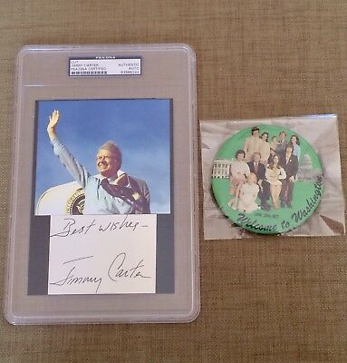 President Jimmy Carter signed PSA DNA autograph with vintage campaign button