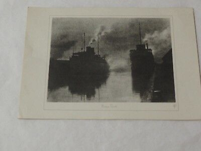 """HOME PORT"""" ETCHING H.PHIPPS WM MERRELL Collection ADVERTISING ART PRINT M-310"""