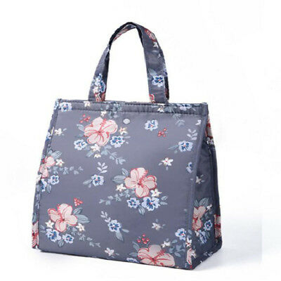 Travel Floral Insulated Cooler Waterproof Picnic Lunch Box Storage Bag Pouch LL