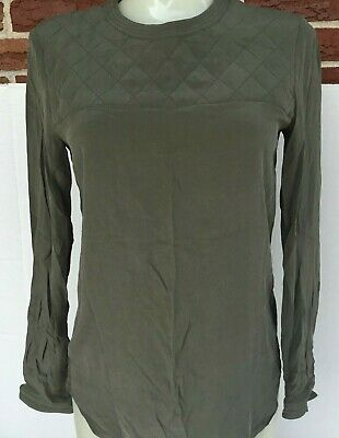 097cd3ae570ae6 Madewell Silk Top Womens XXS Olive Green Quilted Chest Long Sleeve Shirt  Blouse
