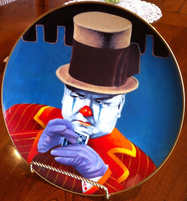 "Collector Plate ""The Shark"" - W.C Fields - Celebrity Clown Series By Jon Helland"