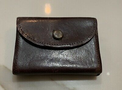Antique Cuticle Travel Set In a Leather Case with Mirror & Folding Comb