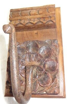 Antique redefine Carved  block Wall Coat hanger Kunti Iron hook wood back E-8