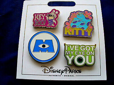 Disney Parks * MONSTERS INC * 4 Pin Set on Card Trading Pins - Sulley Boo Logo