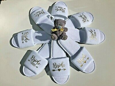 Bride slippers bride tribe bridesmaid maid of honour bridal party spa day hen
