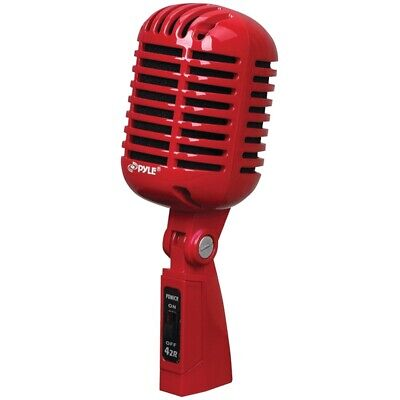 Pyle Pdmicr42R Classic Retro Vintage Style Dynamic Vocal Mic Red