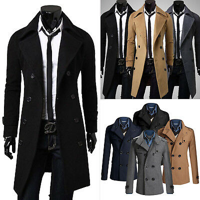 Mens Double Breasted Wool Trench Coat Wind Jacket Overcoat Winter Peacoat Parkas