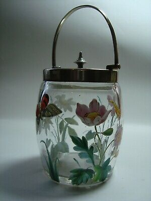 An Antique Hand Painted Glass & Epns Preserve Jar & Cover.