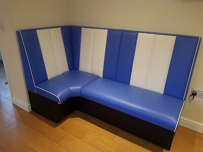 1950's American Diner L Shape Booth Blue White - Restaurant Bar, Cafe, Home