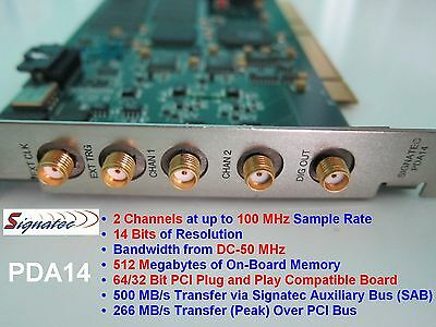 Signatec PDA14 100MHz 14-bit 2Ch Digitizer Software Cables DAQ Scope Card as NI