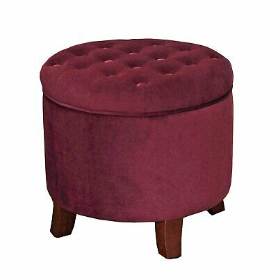 Astounding Home Plum Storage Ottoman Button Tufted Removable Round Ncnpc Chair Design For Home Ncnpcorg