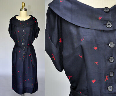 VTG 50s 1950s Navy Blue Red Raw Silk Novelty Print Mexican Wiggle Dress M/L