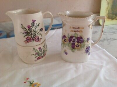 Vintage Jug With Pansy Flowers On & Sylvac Jug And Sugar Bowl With Thistle On