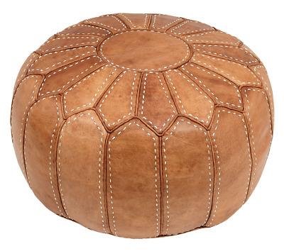Moroccan Pouffe Pouf Ottoman Footstool COVER ONLY or STUFFED Natural Tan Leather
