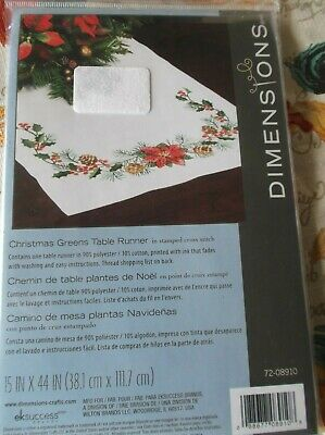"""Dimensions Stamped Cross Stitch Christmas Greens Table Runner 15"""" X 44"""""""