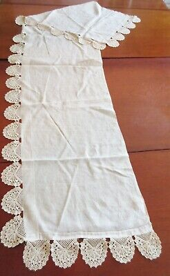 """Antique Ivory Linen Lace Shawl Runner 73"""""""