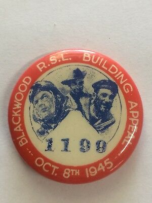 1945 Blackwood RSL Building Appeal Day Button Badge Soldier Sailor Airman