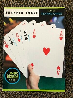 Sharper Image Super Jumbo Playing Oversized Deck Cards 8x11 Large Giant Card Fun