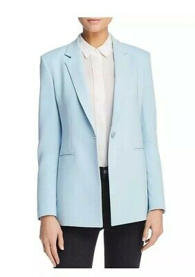 fdbea3344497 Theory Womens Power 2 Blue Crepe One-Button Blazer Jacket Sz. 4 $475 NEW
