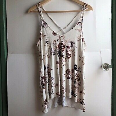 7ba770a93b2 AMERICAN EAGLE Cream Ivory Floral V-Neck Strappy Cross Back Tank XS Extra  Small