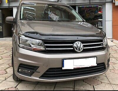 VW Caddy  Bonnet Protector Bug Guard Solid Black Acrylic 2016-2019 Year Only