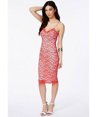 MISSGUIDED STRAPPY LACE Sheer Insert Midi Dress - Size 8