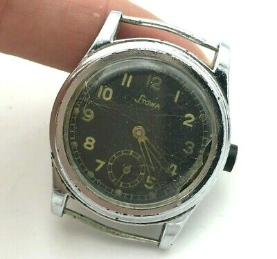 Vintage Stowa WW2 Military Mechanical Black Dial Germany Watch Antique Rare 1930