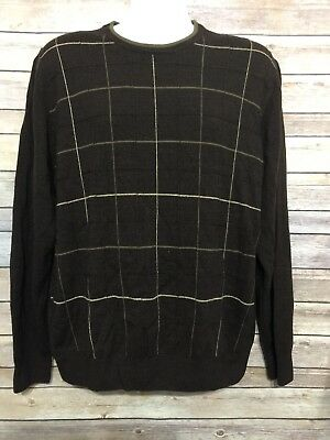 Dockers Men Sweater Pullover Brown Crew Neck Windowpane Stripes Size Large