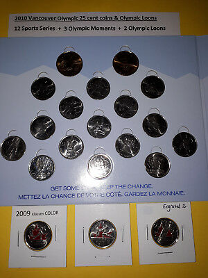 2010 Vancouver Olympic Commemorative Coins 2007-2010 on board + 3 Coloured 25c