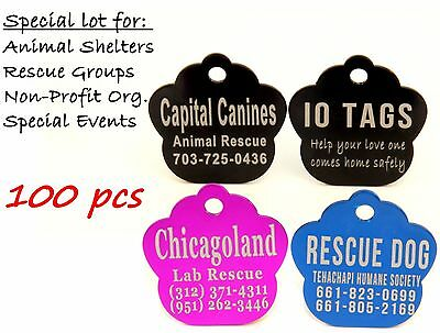 Double sided Bulk Lot Pet ID Tag Dog Cat for Shelter Rescue Non Profit Lot 100