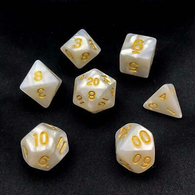 7 White Dragon Pearl Polyhedral Dice Set Sided, Lot D&D RPG DnD