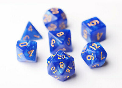7 Blue Dragon Pearl Polyhedral Dice Set Sided, Lot D&D RPG DnD