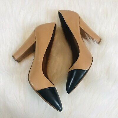 5f683c13d6 Zara Camel Brown Black Pointed Cap Toe Chunky Heels Pumps Size 40 US 9  Leather