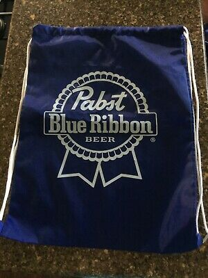 Pabst Blue Ribbon PBR Beer Drawstring Backpack Milwaukee Wisconsin Brewery