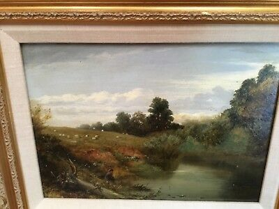 Antique Oil painting board unsigned Hudson River Valley School Boy Fishing SUPER