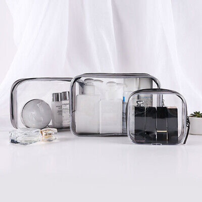 Set of 4PCS Cosmetic Makeup Toiletry Clear PVC Travel Wash Bag Holder Pouch Kit