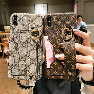 For iPhone XS Max XR X 8 7 6s Plus PU Leather Wrist Strap Card Wallet Case Cover