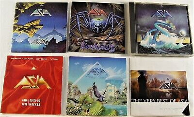 Lot Of 6 ASIA CDs - S/T. Archive 2, Aria, Live, Alpha, Best Of 1982-1990 Wetton