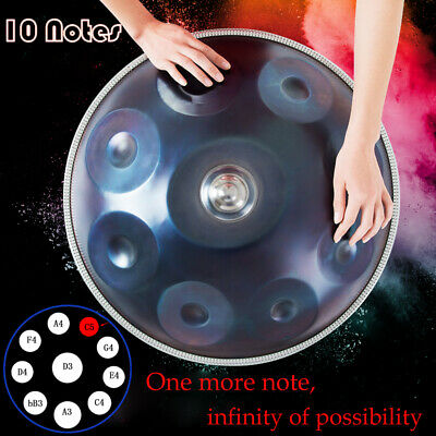 """22"""" 10 Notes Professional Hand Pan Handpan Hand Drum Carbon Steel Blue with Bag"""