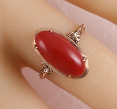 Antique Victorian Engraved 18K Solid Yellow Gold Large Salmon Red Coral Ring 6.5