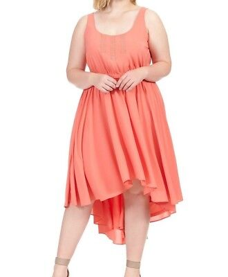 Jete Mica Sleeveless Georgette Fit And Flare Dress In Coral Crush Size XL