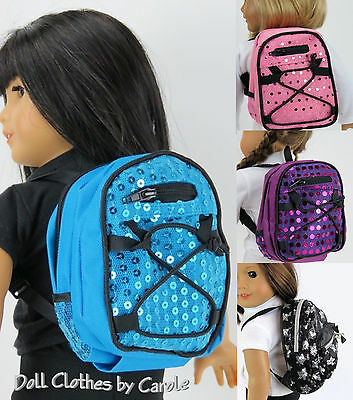 "Blue Pink Purple Black/Silver Backpack fits 16-21"" Dolls - American Girl Doll"