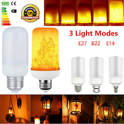 E27 B22 E14 LED True Fire Effect Flicker Flame Lamp Burning Light Corn Bulb