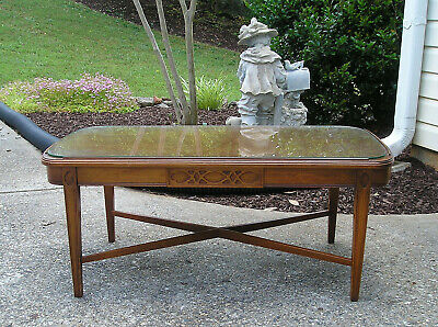 Vintage Mersman Tables Coffee Table with Glass Top, Mid Century Sofa Table