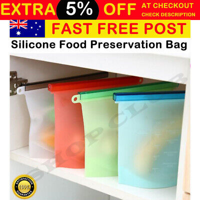 12x Reusable Silicone Food Preservation Bag Airtight Seal Food Storage Container