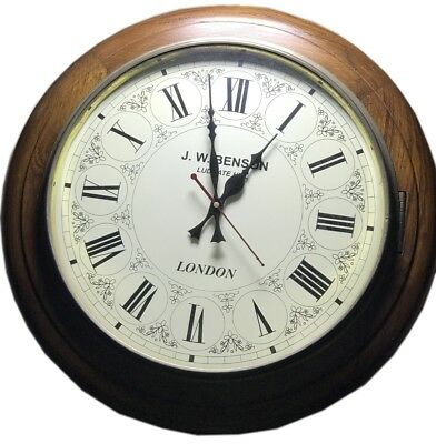 Wooden Art Decor Watch Antique Themed Timepiece J.W. Benson Wall Clock WC 033