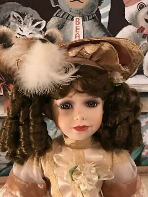 """~ Beautiful Unbranded Porcelain Doll ~ 24"""" Tall ~ All Original Clothes Shoes Etc"""
