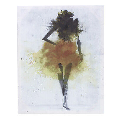 Yellow Watercolor Fashion Girl Abstract Art Canvas Print Oil Painting Wall