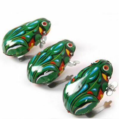 1 Wind Up Animal Jumping Green Frog Retro Classic Clockwork Gifts Toy Tin N L6D0